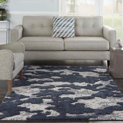 Textured Contemporary Blue/Grey 4 ft. x 6 ft. Contemporary Area Rug