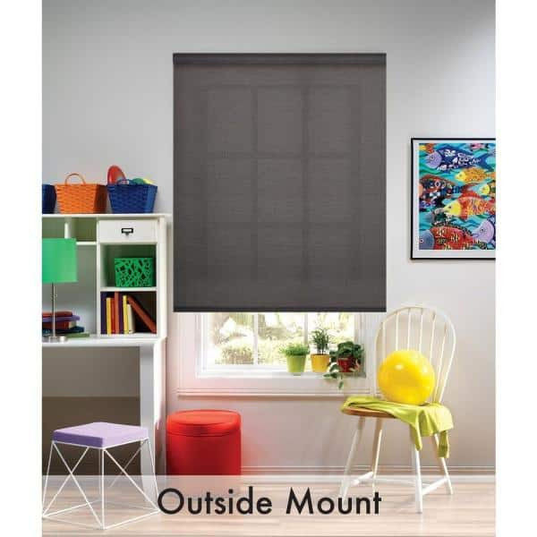 Bali Cut To Size Graphite Cordless Uv Blocking Fade Resistant Roller Shades 37 25 In W X 72 In L 40 1500 06 The Home Depot