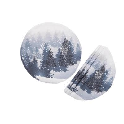 0.1 in. H x 16 in. W Round Winter Wonderland Double Layer Christmas Placemat (Set of 4)