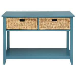 Amelia 44 in. Teal Rectangle Wood Console Table with Storage