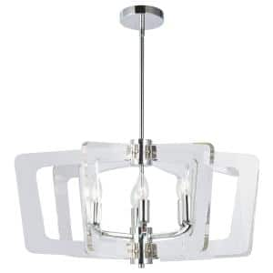 Clearwater 6-Light Polished Chrome Chandelier with No Shades