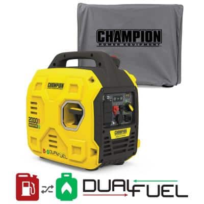 2000-Watt Recoil Start Portable Dual Fuel Gas and Propane Inverter Generator with ParaLINK and Cover