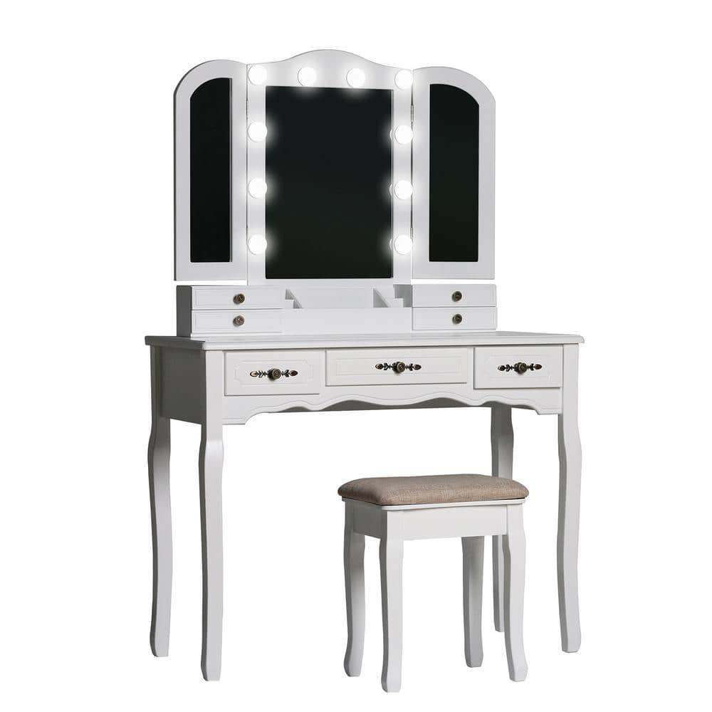 Reviews For Veikous Modern Wooden White Bedroom Vanity Sets Makeup Table With Stool And Led Bulbs Fold Mirror Szt001 The Home Depot