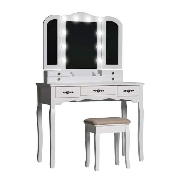 Veikous Modern Wooden White Bedroom, Home Depot Makeup Vanity Mirror With Lights