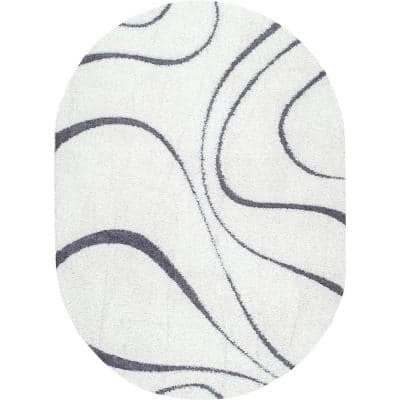 Carolyn Contemporary Curves Shag White 5 ft. x 8 ft. Oval Rug