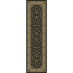 Castello Black 2 ft. x 7 ft. Traditional Oriental Floral Area Rug