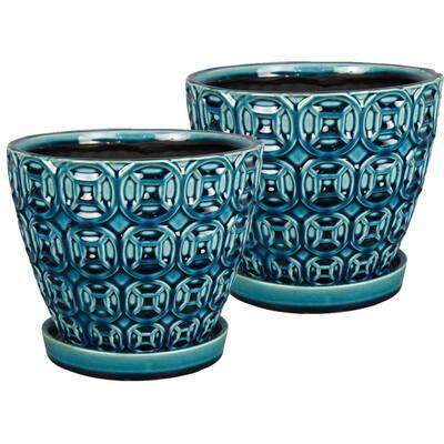 Mayer 8 in. x 6.89 in. Seafoam Ceramic Pot (2-Pack)