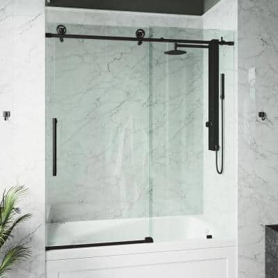 Elan Cass 56 to 60 in. W x 66 in. H Sliding Frameless Tub Door in Matte Black with Clear Glass