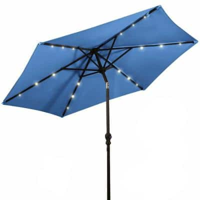 9 ft. Steel Market Solar Tilt Patio Umbrella with Crank and LED Lights in Blue