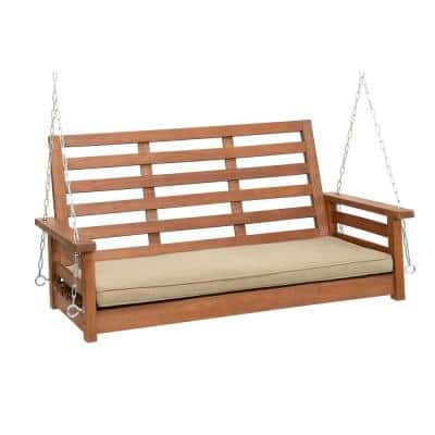 4 ft. Hardwood Porch Swing with Chains in Oil with Taupe Olefin Cushion