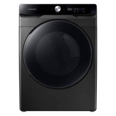 7.5 cu. ft. Smart Dial Brushed Black Electric Dryer with Super Speed Dry