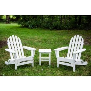 Icon White Recycled Plastic Folding Adirondack Chair with Side Table (2-Pack)