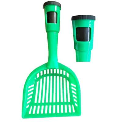 Green Poopin-Scoopin Dog and Cat Pooper Scooper Litter Shovel with Built-In Waste Bag Handle Holster