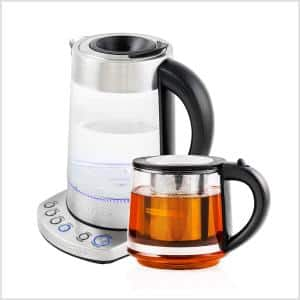 7.2-Cup Stainless Steel Electric Glass Kettle with ProntoFill Technology and 27-Oz. Reusable Teapot with Infuser, Bundle