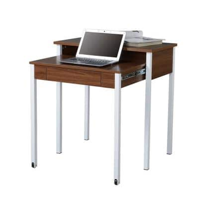 32 in. Rectangular Walnut/White 1 Drawer Writing Desk with Wheels