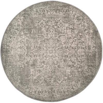 Evoke Silver/Ivory 3 ft. x 3 ft. Round Area Rug