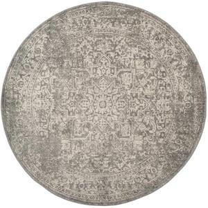 Evoke Silver/Ivory 9 ft. x 9 ft. Round Border Medallion Distressed Area Rug