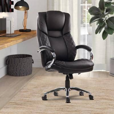 400lb Weight Capacity Heavy Duty Chair Black Faux Leather Smooth and Quiet Mobility Design with Seat Height Adjustment