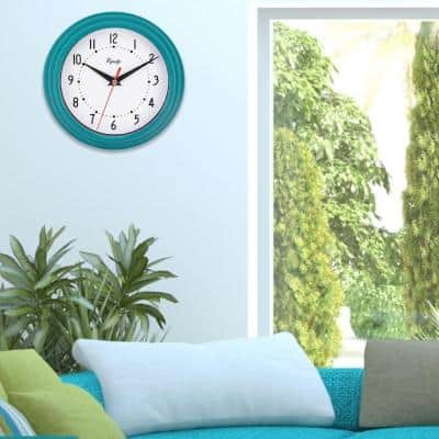 8 in. Teal Blue Basics Quartz Wall Clock