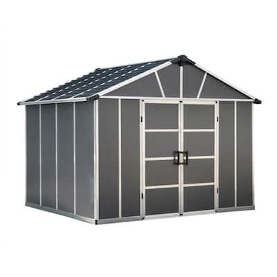 Yukon 11 ft. x 9 ft. Dark Gray Large Garden Outdoor Storage Shed