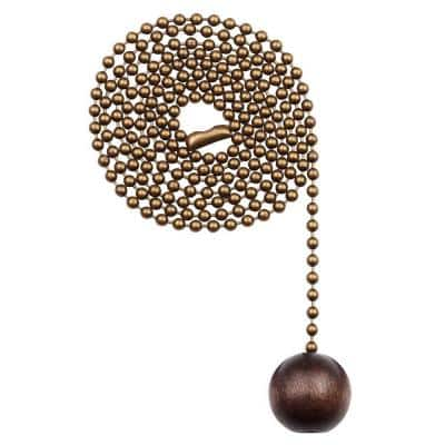 Walnut and Antique Brass Wooden Ball Pull Chain