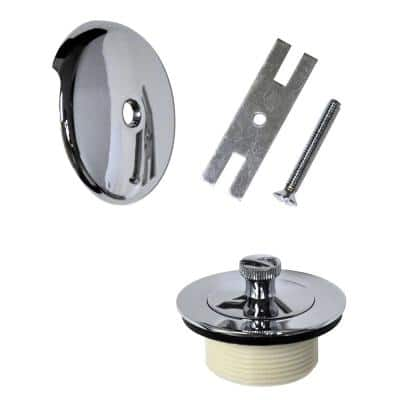Lift and Turn Bath Tub Drain Trim Kit with Overflow in Chrome