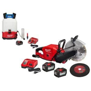 M18 FUEL ONE-KEY 18-Volt Lithium-Ion Brushless Cordless 9 in. Cut Off Saw Kit with Switch Tank Backpack Water Supply Kit
