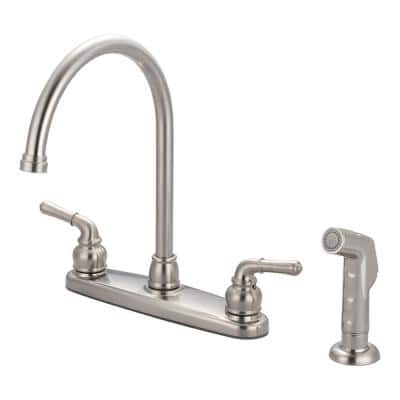 Accent 2-Handle Standard Kitchen Faucet with Sprayer in Brushed Nickel