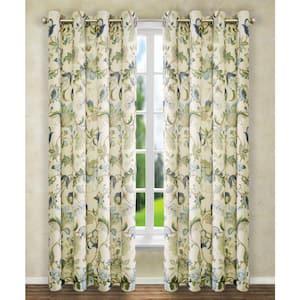 Blue Floral Grommet Room Darkening Curtain - 50 in. W x 84 in. L