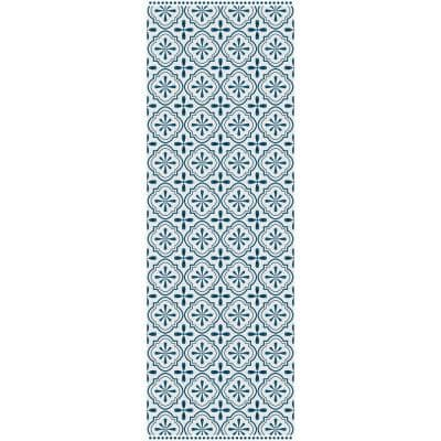 Decorative Blue and Cream 24 in. x 72 in. Laminated Kitchen Mat
