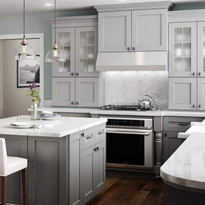 Tremont Assembled 24x42x12 in. Plywood Shaker Wall Angle Corner Kitchen Cabinet Soft Close Left in Painted Pearl Gray