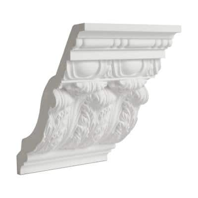 8 in. x 8-5/16 in. x 6 in. Polyurethane Long Acanthus Leaf Crown Moulding Sample