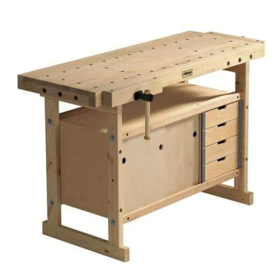 Nordic Plus 4 ft. 9 in Workbench with 1450 Storage Cabinet and Accessory Kit