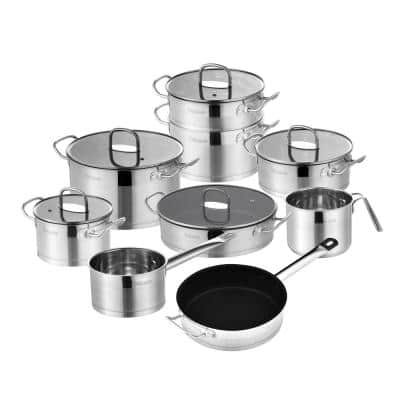 14-Piece Stainless Steel Cookware Set Pot and Pan Sets with Saucepan Casserole Casserole Pan with Glass Lid