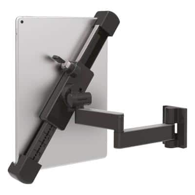 Barkan 7 in. - 14 in. Full Motion - 4 Movement Anti-Theft Tablet Wall Mount Black Very Low Profile Touch & Tilt