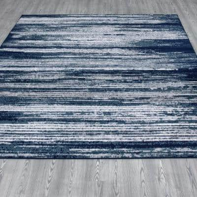 Montvale Collection Stripes Navy 7 ft. 8 in. x 9 ft. 8 in. Area Rug