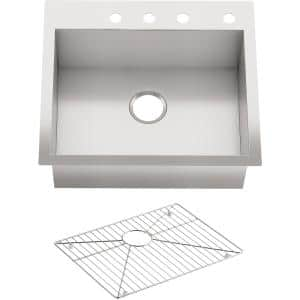 Vault Dual Mount Stainless Steel 25 in. 4-Hole Single Bowl Kitchen Sink Kit with Basin Rack