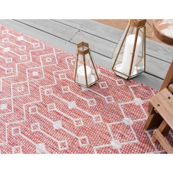 Unique Loom Rust Red Gray Tribal Trellis Outdoor 7 Ft X 10 Ft Area Rug 3145059 The Home Depot