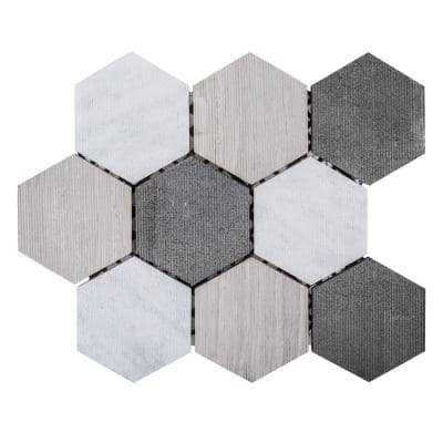 Tread Gray 12 in. x 11 in. Hexagon Textured Marble Wall and Floor Mosaic Tile (0.875 sq. ft./Each)