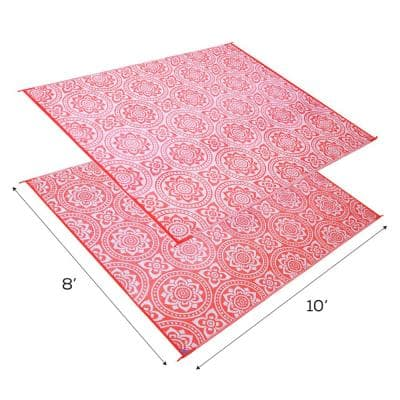 Boho Floral Reversible Mat Coral/White 8' x 10' Virgin Polypropylene Mat with UV Protection