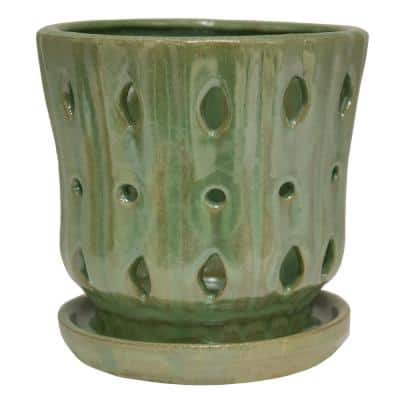 5 in. Reactive Green Ceramic Orchid Planter
