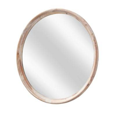 Grand Round 33 in. x 33 in. Whitewash Wall Mirror
