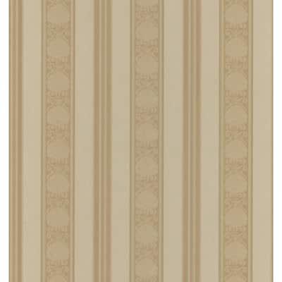 Delphine Copper Stripe Brown Vinyl Peelable Roll (Covers 56.4 sq. ft.)
