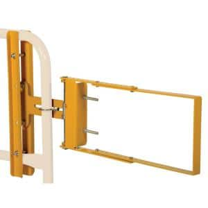 2 ft. x 4 ft. Powder Coat Yellow Steel Safety Railing Self Closing Fence Gate