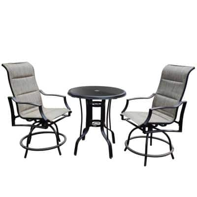Gugua Black Swivel 3-Piece Aluminum Round Outdoor Glass Top Bar Table Set with 2 Aluminum Gray Swivel Chairs