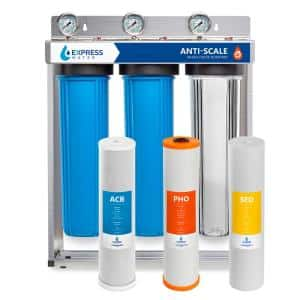 3 Stage Whole House Water Filtration System - Sediment, PHO, Carbon - includes Pressure Gauges and more
