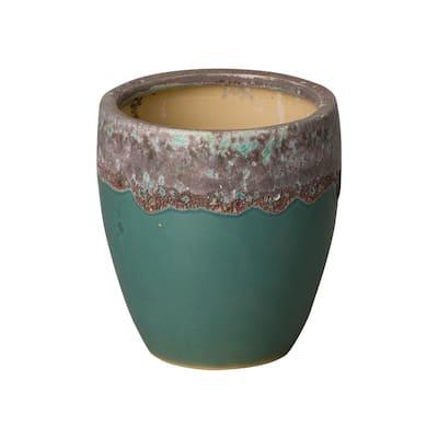 8 in. Dia Reef Teal Textured Round Ceramic Planter