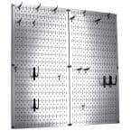 Kitchen Pegboard 32 in. x 32 in. Steel Peg Board Pantry Organizer Kitchen Pot Rack Metallic Pegboard and Black Peg Hooks