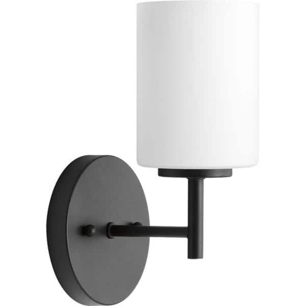 Progress Lighting Replay Collection 1 Light Textured Black Etched White Glass Glass Modern Bath Vanity Light P2131 31 The Home Depot
