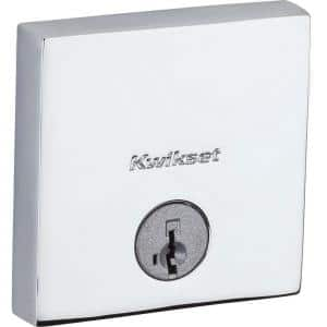 258 Downtown Polished Chrome Square Single-Cylinder Low Profile Deadbolt Featuring SmartKey Security